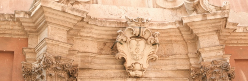 Cagliari, quartiere di Marina: Facciata della chiesa di Sant'Antonio Abate - dettaglio